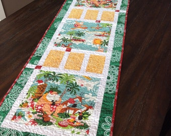"""Reserved for Clara - Handmade Quilted Table Runner - 17"""" x 52"""" - Christmas - Santa - Tropical - Hawaii - Table Linen - Homemade - Cotton"""