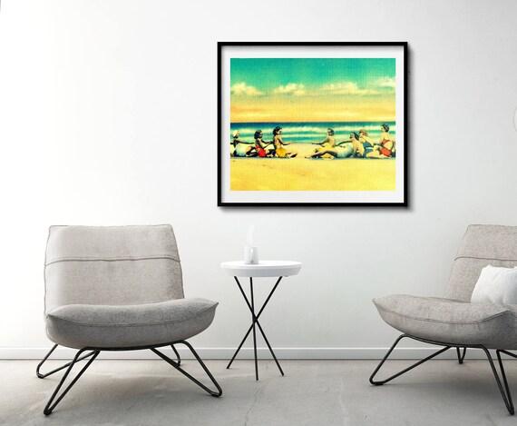Vintage Beach Art, Vintage Beach Photograph, Beach House Art, Vintage Beach Decor Coastal Decor Coastal Art Beach House Art Gift yellow aqua