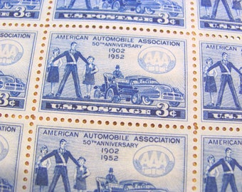 Road Rage 50 Vintage UNused US Postage Stamps 3-c Blue Wedding Save the Date AAA Fender Bender Flat Tire American Automobile Car Philately