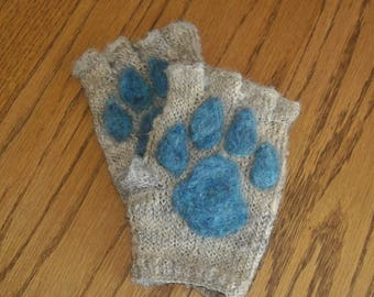 Fingerless Paw Gloves - Knit and Needle Felt - Customizable