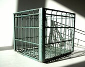 Vintage Metal Wire Crate / Vintage Metal Milk Crate / Storage Organization / Wire Basket / Anodized Green Color / Meadow Gold 1962