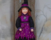 """Violet the Sweet, Halloween witch, Ozarks barnwood, hand painted, 5"""" x 13 3/4"""""""