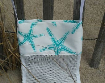 Large NEW Shell Collecting Bag Shell Tote Adult or Child Aqua Starfish