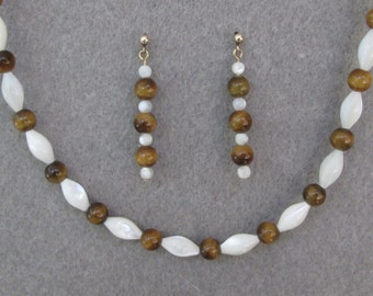 Tiger Eye and Mother of Pearl Necklace and Earrings Set