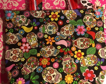 Sugar Skulls - Flowers - Day of the Dead - Cotton - Purse - Red Interior - Yellow Heavy duty Zipper - Hand Made Ink