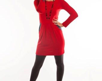 Christine Dress, Knit Mini-Dress, Color Blocked, Red & Gray Dress