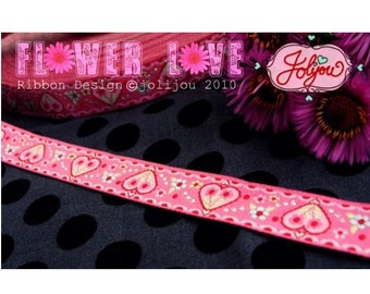 Jacquard Ribbon, Pink Heart Ribbon,  Farbenmix woven Flower Love webband,  Sewing Tape, 1 metre