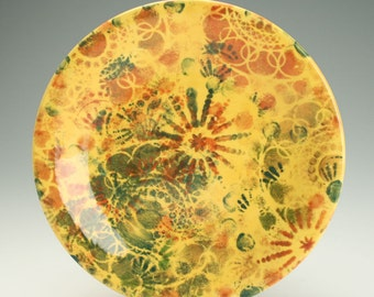 """Jewel Earth Tones Plate 8-1/4"""", Lunch, Dessert, Salad Plate, Quilt Inspired, Golden Colors, Hand Painted"""