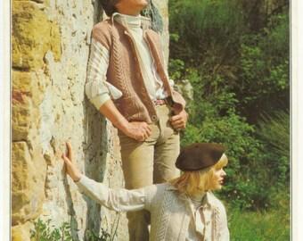 Unisex Gilet Waistcoat Knitting Pattern  Vintage Patons  Knitting Pattern Leaflet Double  Knitting Retro Knitting