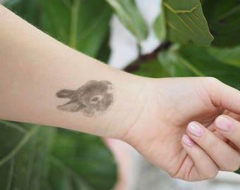 "Temporary ""Bunny Tatts"" Tattoos - one cool fake rabbit tatts quick bun waterproof non toxic tats for kids Cute festival fun"