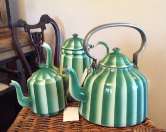 Set Vintage Graniteware Enamelware Green Stripe
