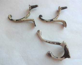 3 Antique Coat Hooks with Chippy White Paint