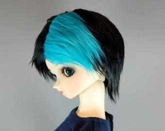 9/10 Black & Blue Faux (Fake) Fur Wig for SD BJDs, size 9-10