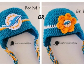 Handmade baby crochet Miami Dolphins inspired HAT ONLY, girl or boy style available, football hat, handmade, newborn to child