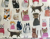 Cat Fabric Hot Dogs and Cool Cats by Carolyn Gavin for Windham Fabrics in Pink GOTS Certified Organic Cotton White Cream Background