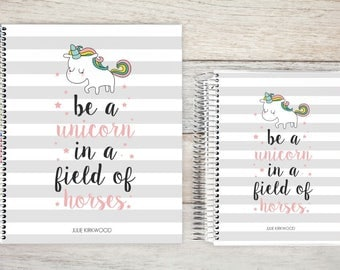 Monthly Planner | 24 Month Planner | Personalized Monthly Planner | 2 Year Planner | Monthly Planner Organizer | unicorn stripes