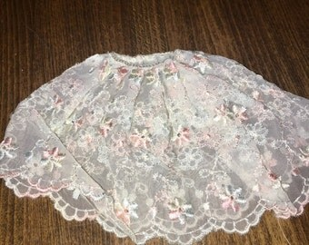 vintage Barbie white and pasyel lace skirt by mattel