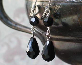 Art Deco Black Dangle Earrings, 1920's, Downton Abbey Inspired Jewelry