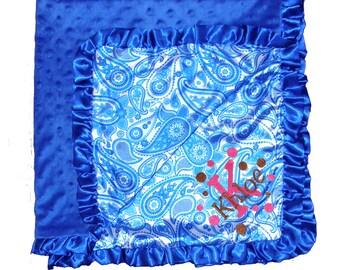 Personalized Royal Blue Paisley Satin Minky Dot Ruffled Baby Blanket