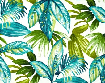Tropical Designer Pillow Cover - Indoor Outdoor - Blue - Green - White - 16x16 to 26x26 inches- BOTH SIDES
