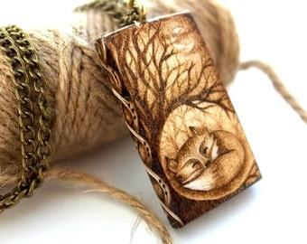 Stunning Sleeping Fox, Hand Burned, Chunky, Wooden, Pyrography Fox Pendant or Vixen Necklace, British Wildlife