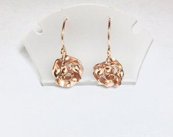 Rose Dangle Earrings 14K Rose Gold Filled // Wholesale Jewelry // 12 Pairs // USA Handmade // Bulk Lot // Boutique Stock // Bridesmade Gifts