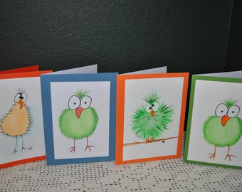 Five Crazy Birds Hand Painted Water Color Note  Cards
