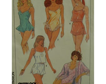 Lingerie Pattern, Teddy, Camisole, Panties, Bodysuit, Short Robe, Straps, Lace Trim, Dance Pants, Simplicity No. 8393 UNCUT Size 10 12 14