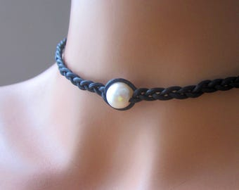 Leather Freshwater Pearl Choker Necklace Braided Minimalist Adjustable Black or Brown Womens Jewelry Gift