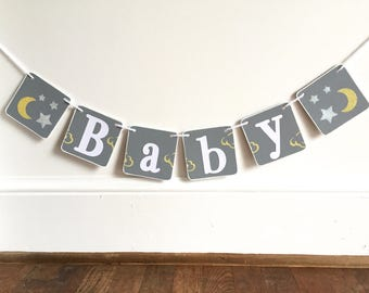Baby shower banner, moon and stars, Gender neutral Banner, Nursery Decoration, Baby photo prop, gray yellow, photography prop baby boy girl