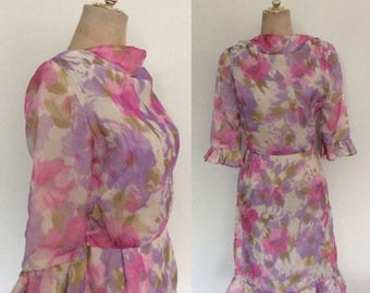 30% OFF 1960's Pink & Purple Watercolor Floral Print Chiffon Dress Size Small Medium by Maeberry Vintage