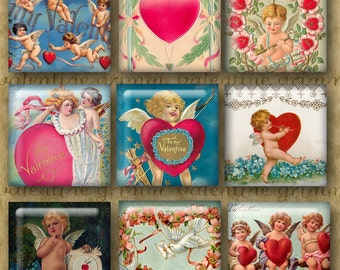 1 inch Digital Printable Squares BE MY VALENTINE collage sheet for Jewelry Pendants Magnets Paper Crafts...Cupids Hearts Whimsy