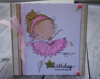 Little Ballerina Birthday Girl, Copic Colored Ballerina Card, Handmade Ballerina Birthday Card, All Dressed Up Ballerina Card