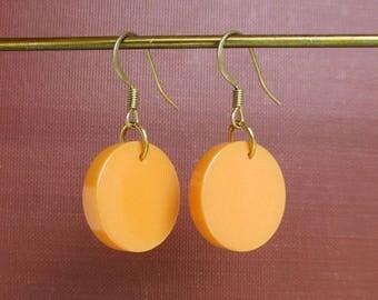 Yellow Bakelite Earrings w/ Solid Brass Hardware - Pierced, Dangle, Butterscotch