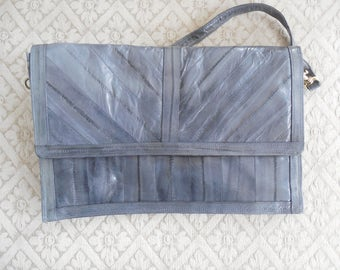Vintage Gray Genuine  EEL Skin Handbag