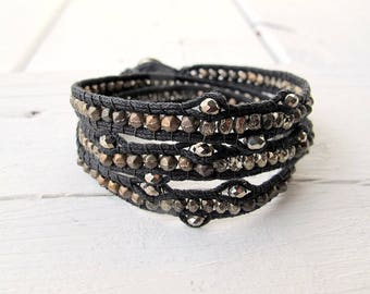 Black Vegan Wrap Bracelet, Black Triple Wrap Bracelet, Aged Metallic Czech Glass Beads, Bohemian Hippie Wrap Bracelet