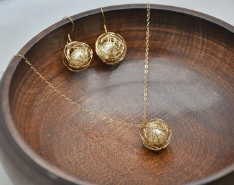 Gold Ball Jewelry Set- Unique Pendant Necklace, Dainty Necklace, Gold Necklace, Gold Ball Earrings, Pearl Earrings, Modern Jewelry