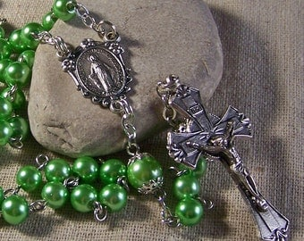 Catholic rosary handmade with spring green pearls in silver