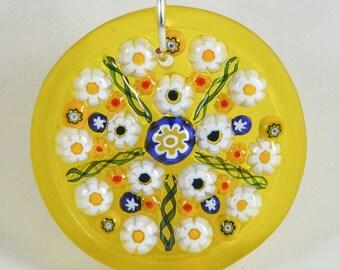 Steph Glass Millefiori Mosaic Yellow Pendant, Fused Glass Necklace Flowers, StephGlass Original Art