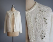 50's Beaded Cardigan // Vintage 1950's Beaded Ivory Lambswool Angora Garden Party Cardigan Sweater XL
