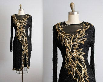 80's Trophy Dress // Vintage 1980's Black Gold Beaded Cocktail Party Evening Pageant Dress XS S