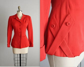 40's Jacket // Vintage 1940's Vibrant Gabardine Wool Fitted Hourglass Jacket M