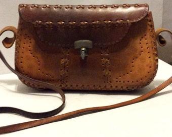 1970's Vintage Tooled Leather Handbag Braided Honey Patina Vachetta Boho Festival