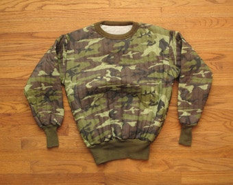 vintage quilted thermal camo sweatshirt