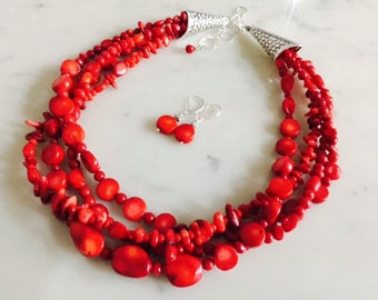 Natural red coral chunky statement necklace earrings set, big bold, multi-strand, beaded, gift idea, natural gemstone, handmade