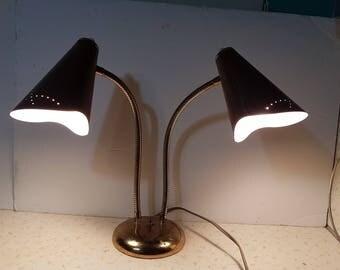 Vintage Brown Mid Century Modern Two Headed Lamp