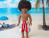 Swim Trunks 18 inch boy doll american made girl red white blue loster beach shorts summer clothes tie front anchors