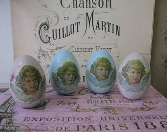 Romantic Aged Nordic French Inspired Cottage Chic Decorative Cherub Wooden Eggs