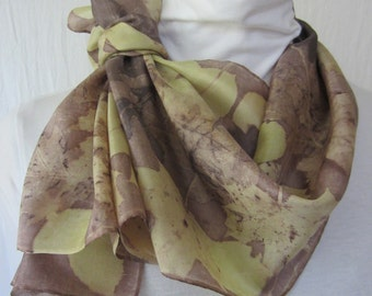 New silk scarf .Eco printed.Leaf pattern. Habotai silk scarf.Handmade.Eco dye.Multicolor.Purple-brown,green,cream, purple,brown color