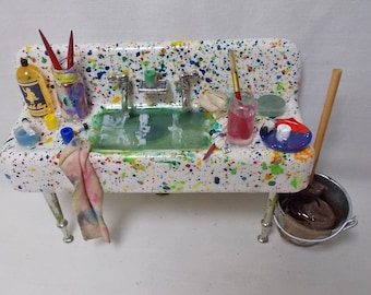 Dollhouse miniature Filled Messy Artist's Sink
